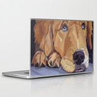 golden retriever Laptop & iPad Skins featuring Golden Retriever Eyes by Barking Dog Creations Studio