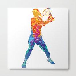 Watercolor Tennis Woman Metal Print