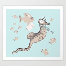 Seahorse School Art Print