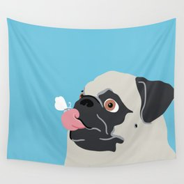 Pug Butterfly Flat Graphic Wall Tapestry