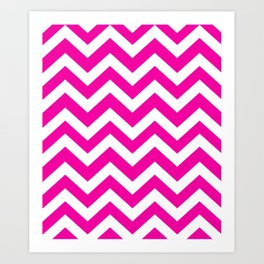 Hollywood cerise - fuchsia color - Zigzag Chevron Pattern Art Print