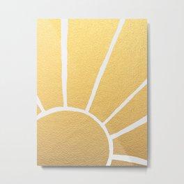 Gold Metallic Sunshine Rays Metal Print