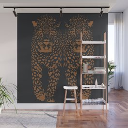 Midnight Leopard - Navy and Orange Leopard print By Kristen Baker Wall Mural