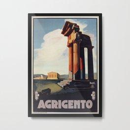 Vintage 1920s Agrigento Italian travel ad Metal Print