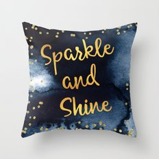 Sparkle And Shine Gold And Black Ink Typography Art Throw Pillow