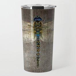 Dragonfly On Distressed Metallic Grey Background Travel Mug
