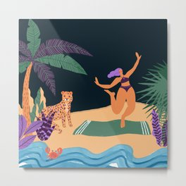 Girl And Tiger In Beach Metal Print
