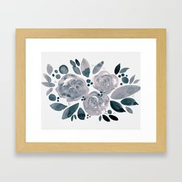 Abstract watercolor roses - neutral Framed Art Print