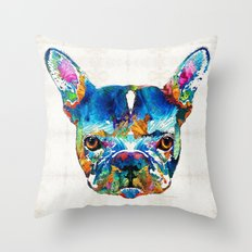Colorful French Bulldog Dog Art By Sharon Cummings Throw Pillow