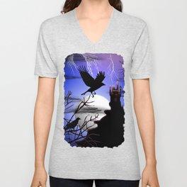 Raven's Haunted Castle Unisex V-Neck