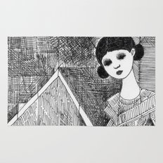 Girl on the top of her house. Rug