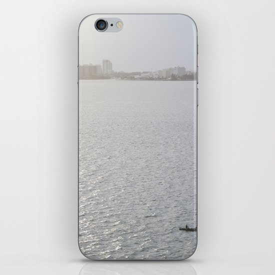 Lonely Boat in Key Biscayne, Miami, With the City as Background iPhone & iPod Skin