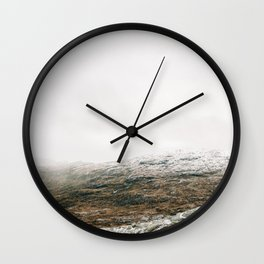 White winter mountain landscape | Norway travel photography print | Trolltunga Wanderlust art Wall Clock