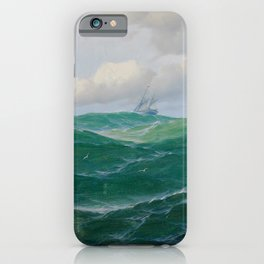 Vintage Ocean Oil Painting with Ship and Waves iPhone Case