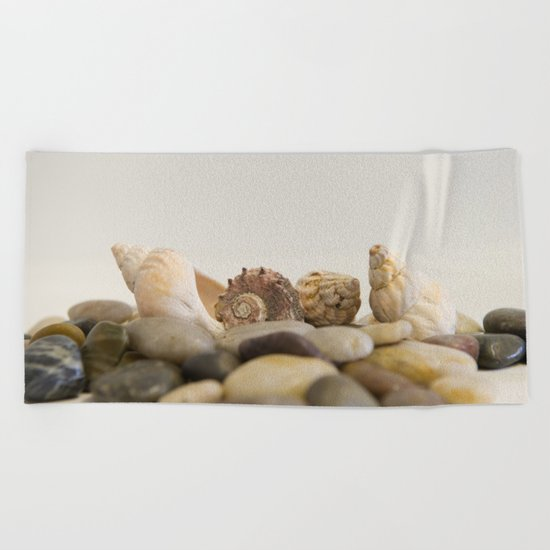 Seashells & Stones #1 #decor #art #society6 Beach Towel