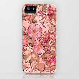 """Alphonse Mucha """"Printed textile design with hollyhocks in foreground"""" (edited red) iPhone Case"""