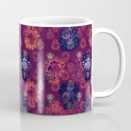 Lotus flower - fire on mulberry woodblock print style pattern Coffee Mug