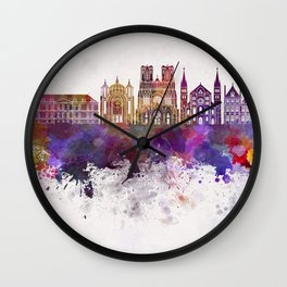 Reims skyline in watercolor background Wall Clock