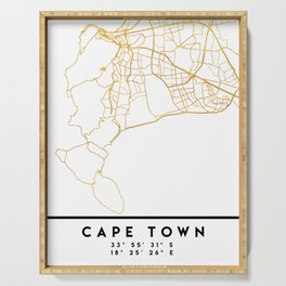 CAPE TOWN SOUTH AFRICA CITY STREET MAP ART Serving Tray