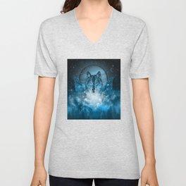 wolf in blue Unisex V-Neck