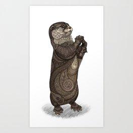 Infatuated Otter Art Print