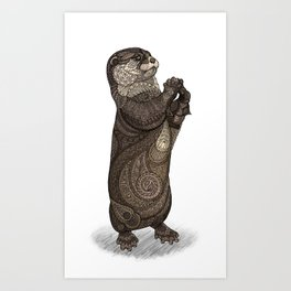 Infatuated Otter Art Print