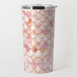 Rosegold Blush Mermaid Scales Travel Mug
