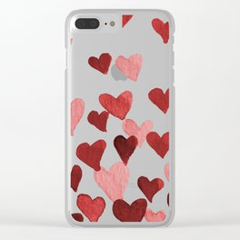 Valentine's Day Watercolor Hearts - red Clear iPhone Case