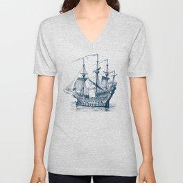 Blue vintage nautical wind sailing boat Unisex V-Neck