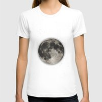 planet T-shirts featuring The Moon  [Sans Type] by Heather Landis