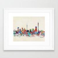 south africa Framed Art Prints featuring Johannesburg South Africa skyline by bri.buckley