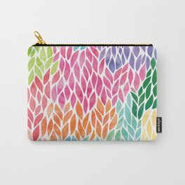 Rainbow Watercolor Leaf Teardrop Pattern Carry-All Pouch