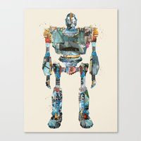 iron giant Canvas Prints featuring modern iron giant by bri.buckley