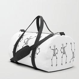 Black Skeleton on white Duffle Bag