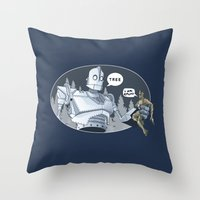 iron giant Throw Pillows featuring The Giant & Groot by Daydreams and Giggles Studios