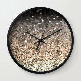 Sparkling GOLD BLACK Lady Glitter #2 #decor #art #society6 Wall Clock
