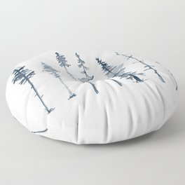 Navy Trees Silhouette Floor Pillow