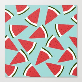 Trendy Watermelon Red and Mint Summer Design Canvas Print