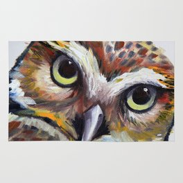 Burrowing Owl Palette Knife Painting in Oil by Award Winning San Francisco Bay Artist Lisa Elley Rug