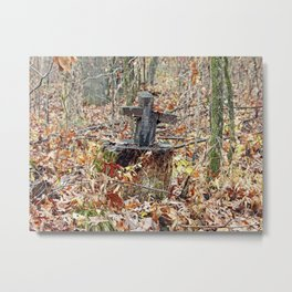 Cross in the Woods Metal Print