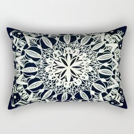 Silver Mandala on Black Background Rectangular Pillow