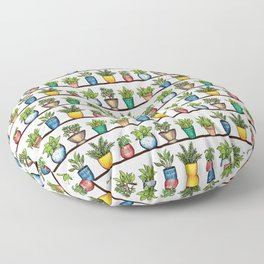 Houseplants Pattern - Colorful Potted Plants On Shelves Floor Pillow