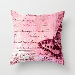 pink postage Throw Pillow