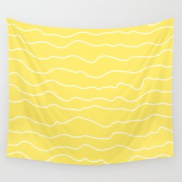 Yellow with White Squiggly Lines Wall Tapestry
