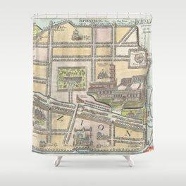 Old 1650 Historic State of Palestine Jerusalem Zion Map Shower Curtain