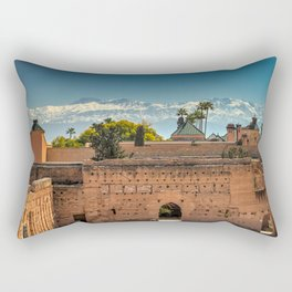 El Badi Palace and Atlas Mountains, Marrakesh. Rectangular Pillow