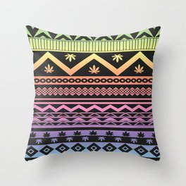 Cannabis Geometric Aztec Throw Pillow