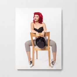 """Red Hair Don't Care"" - The Playful Pinup - Red Haired Bowling Girl Pin-up by Maxwell H. Johnson Metal Print"