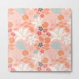Orange Japanese pond florals Metal Print