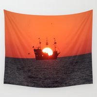 pirate ship Wall Tapestries featuring Pirate sunset by Twilight Wolf